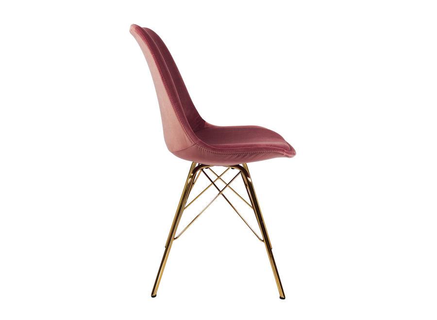 Kuipstoel Velvet Roze - Goud frame