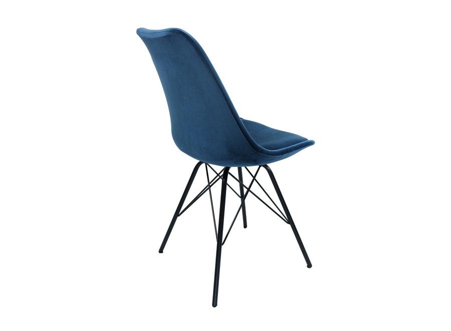 Kuipstoel Velvet Donker Blauw - Zwart frame