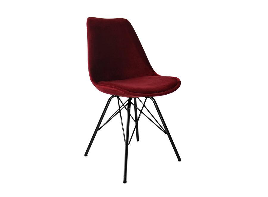 Kuipstoel Velvet Rood - Zwart frame