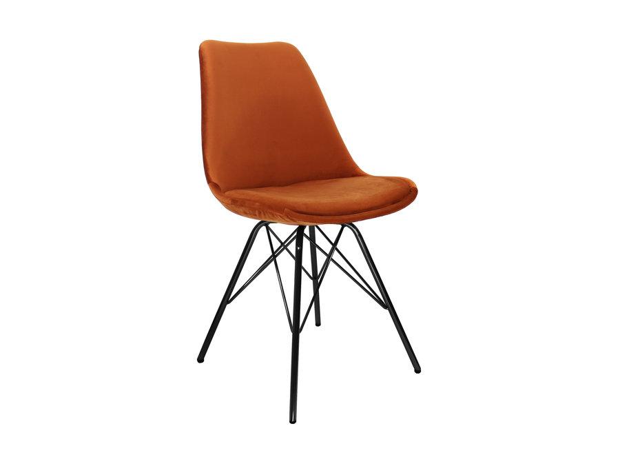 Kuipstoel Velvet Oranje - Zwart frame