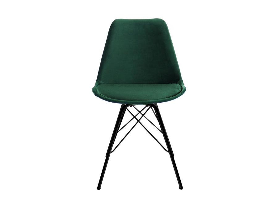 Kuipstoel Velvet Donker Groen - Zwart frame