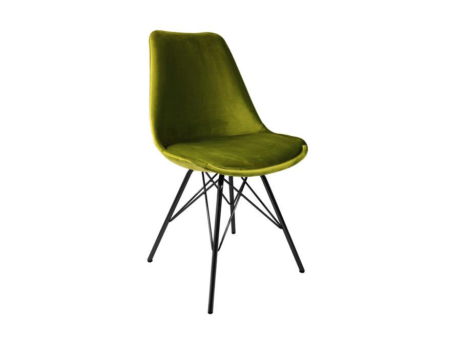 Kuipstoel Velvet Groen - Zwart frame