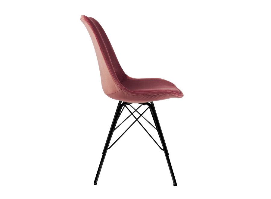 Kuipstoel Velvet Roze - Zwart frame