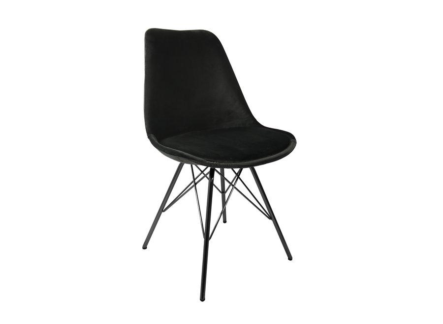 Kuipstoel Velvet Zwart - Zwart frame