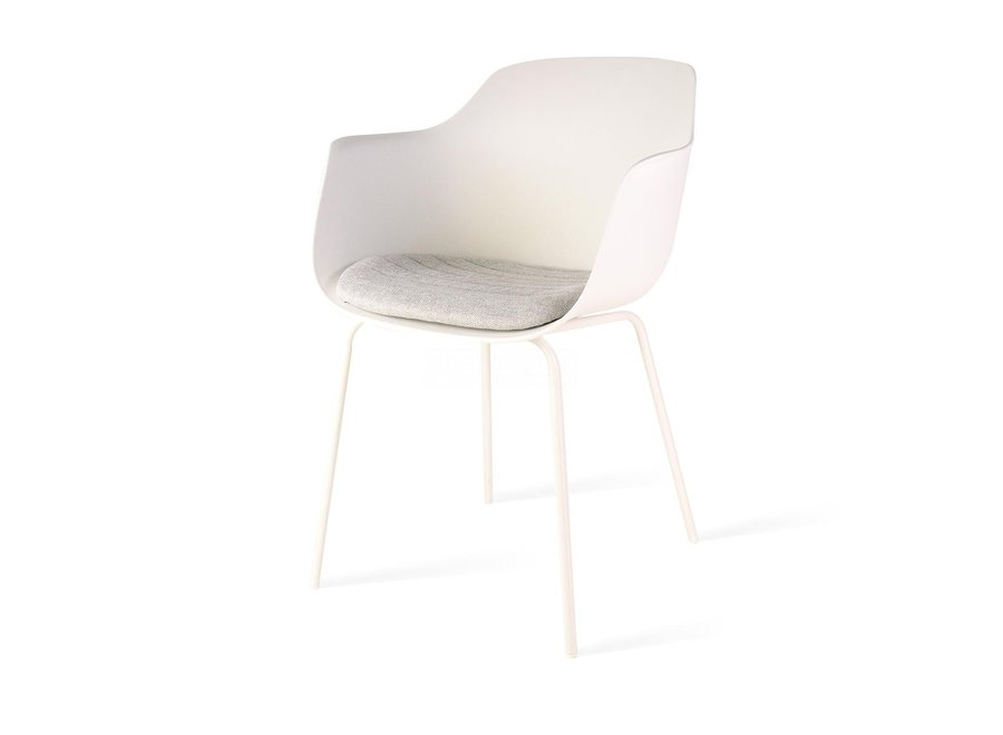 Atrani Blanche avec accoudoir | Pieds blancs - Coussin de siège en différentes couleurs