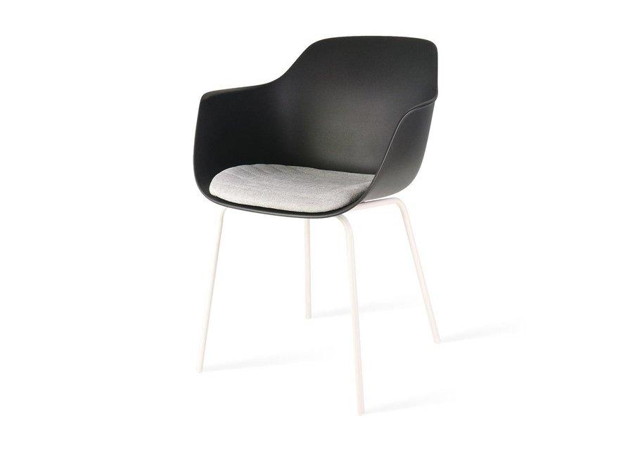 Atrani Noire avec accoudoir | Pieds blancs - Coussin de siège en différentes couleurs