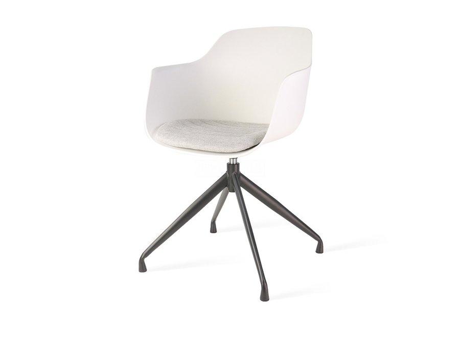 Levanzo Turn Accoudoir Blanc   Pieds Noirs - Coussin de siège disponible en différentes couleurs