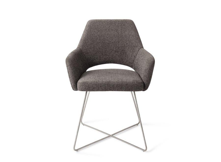 Chaise de salle à manger Yanai - Amazing Grey Cross Steel