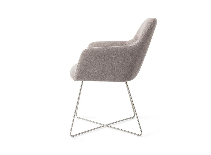 Chaise de salle à manger Kinko - Earl Grey Cross Steel
