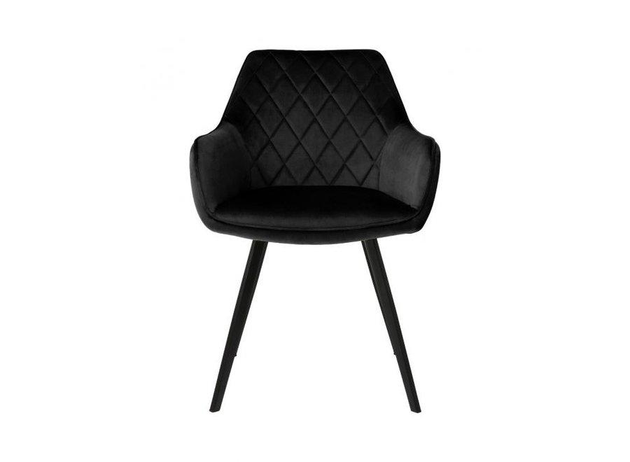 Chaise de salle à manger Karl Velvet - Noire