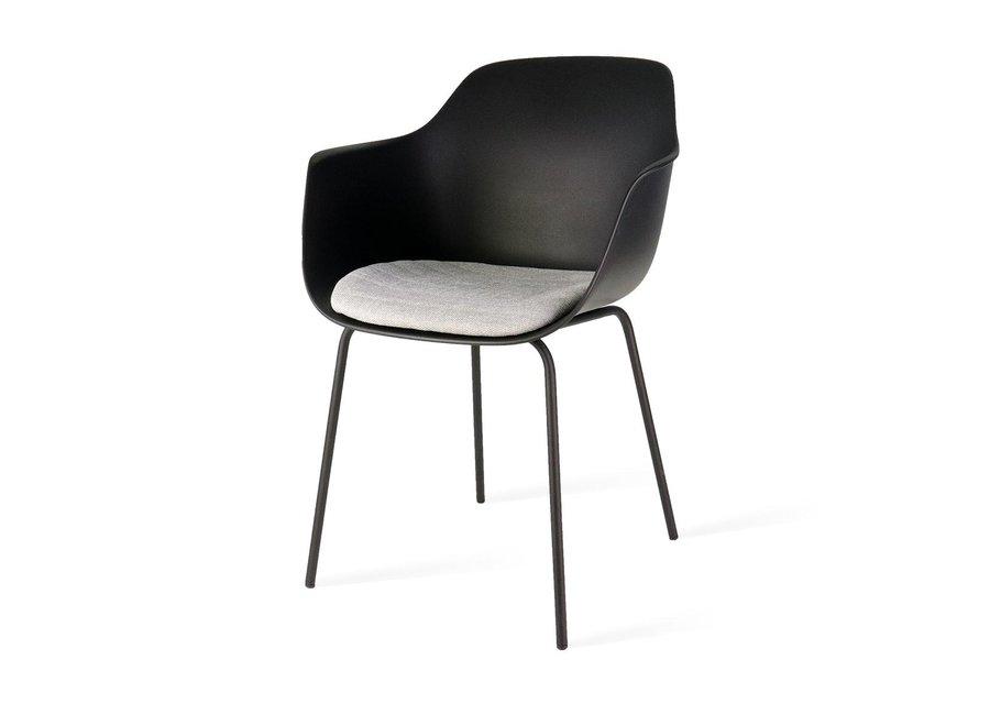 Atrani Noire avec accoudoir | Pieds noirs - Coussin de siège en différentes couleurs