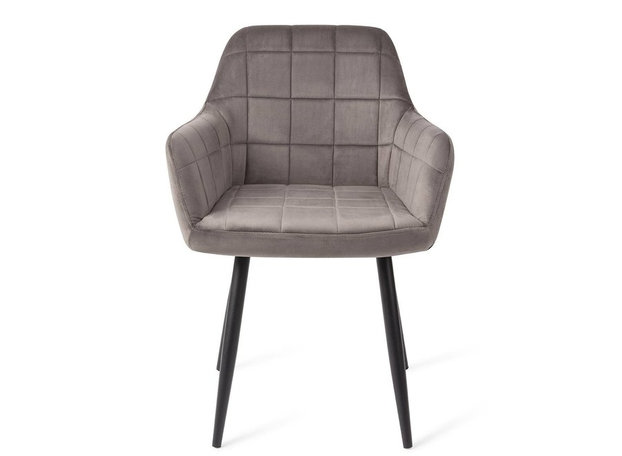 Chaise de salle à manger Madison Velours - Anthracite