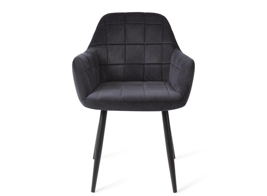 Chaise de salle à manger Madison Velours - Noire