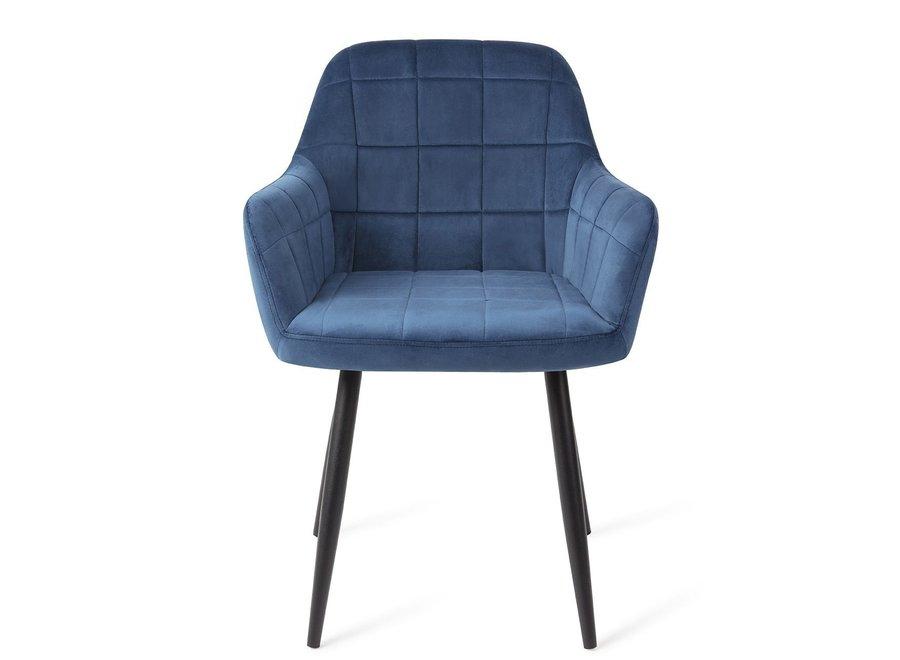 Chaise de salle à manger Madison Velours - Bleue