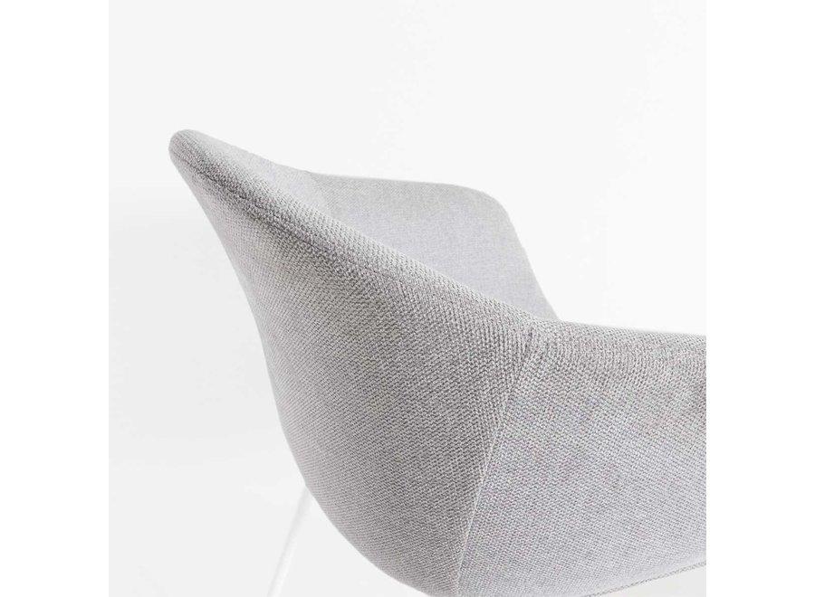 Atrani Gris clair Tissu avec accoudoir | Pieds noirs