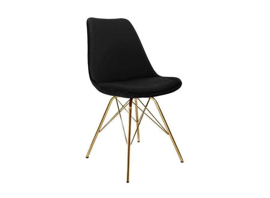 Kuipstoel Velvet Zwart - Goud frame