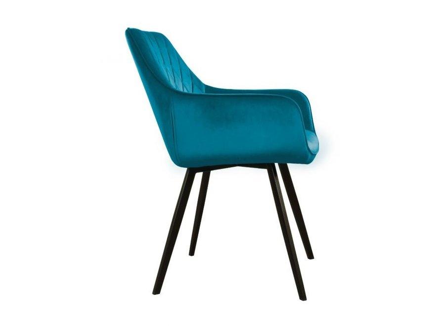 Chaise de salle à manger Karl Velvet -  Bleue