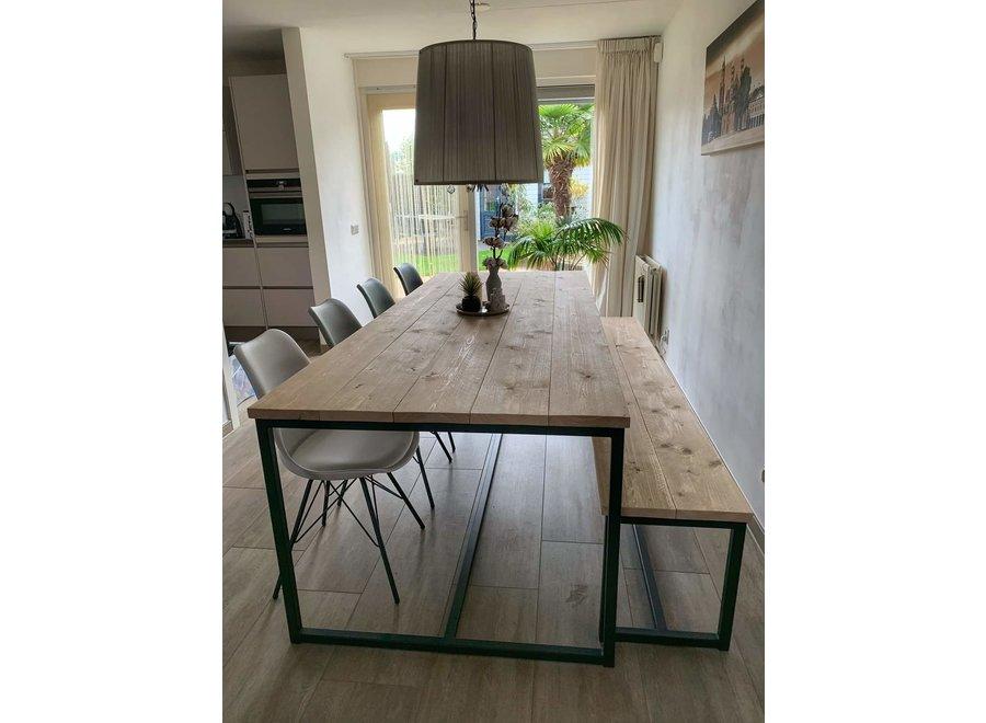 Table de salle à manger Bois d'échafaudage à la mode + Banquette