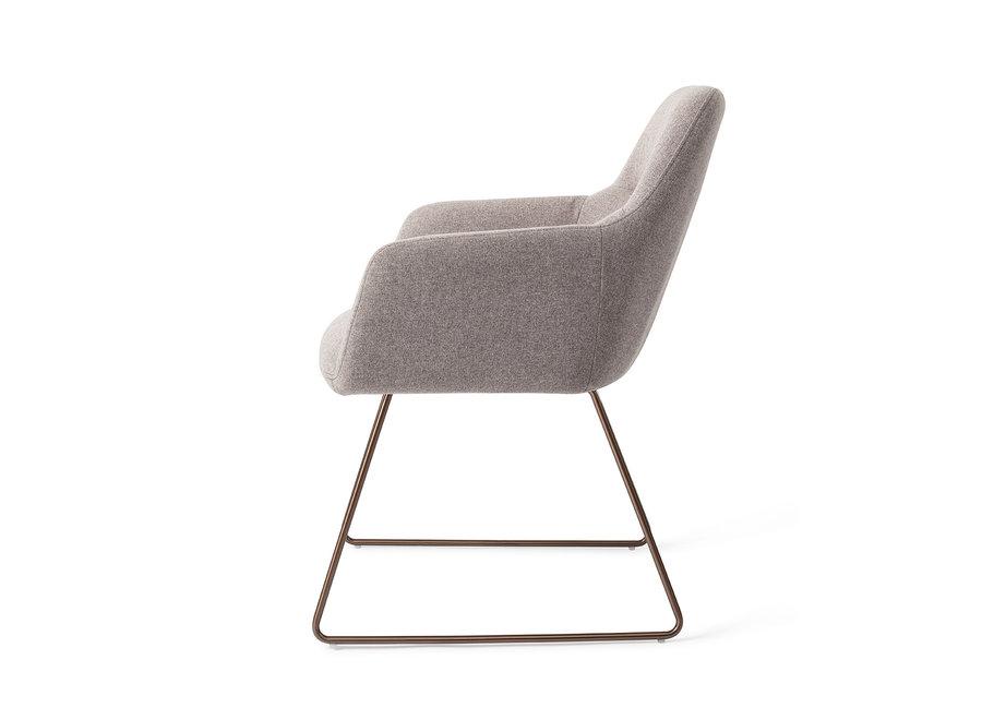 Chaise de salle à manger Kinko  - Earl Grey, Slide Rose Gold