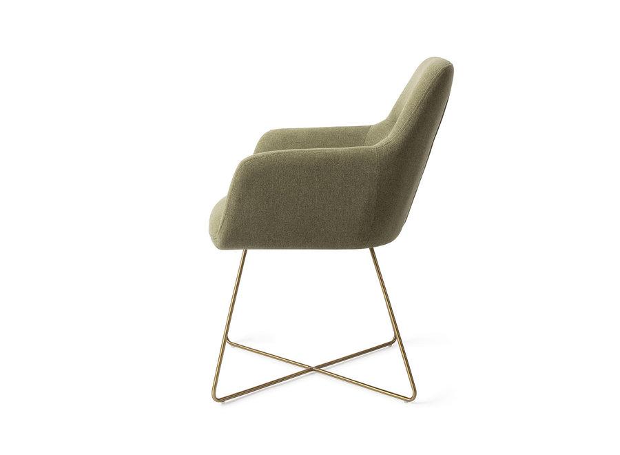 Chaise de salle à manger Kinko - Green Hunter, Cross Gold