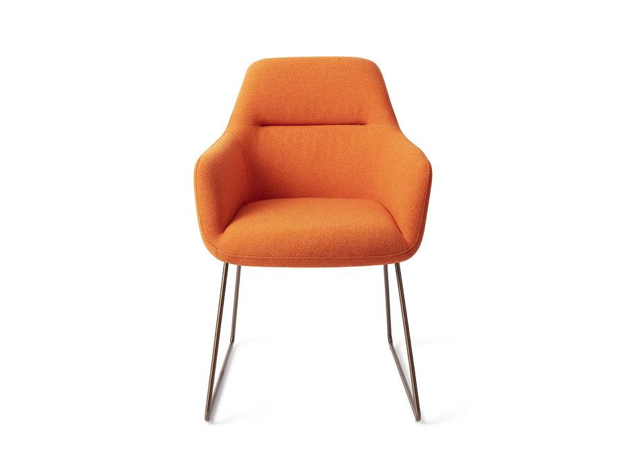 Chaise de salle à manger Kinko - Tangerine, Slide Rose Gold