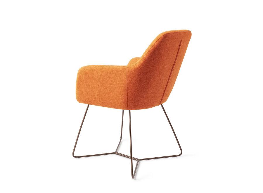 Chaise de salle à manger Kinko - Tangerine, Beehive Rose Gold