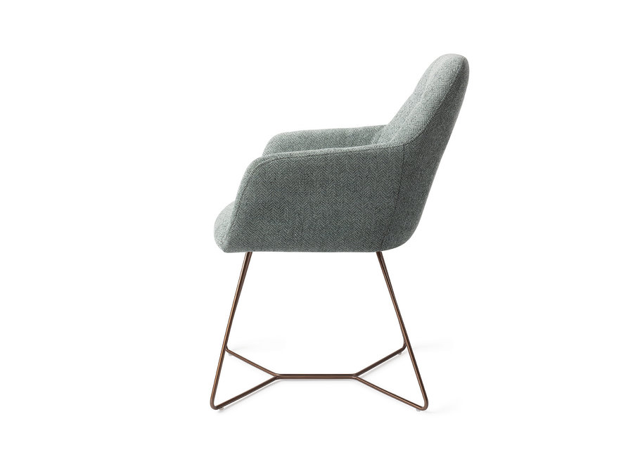 Chaise de salle à manger Noto - Real Teal, Beehive Rose Gold