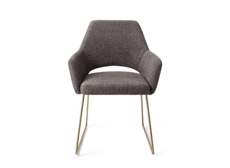 Chaise de salle à manger Yanai- Amazing Grey, Slide Gold