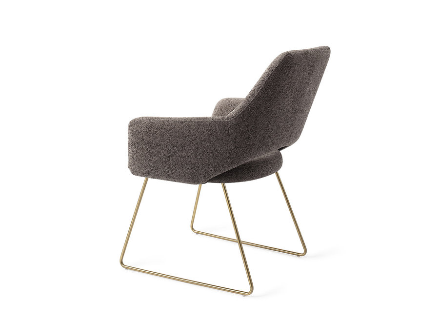 Chaise de salle à manger Yanai - Amazing Grey, Slide Gold
