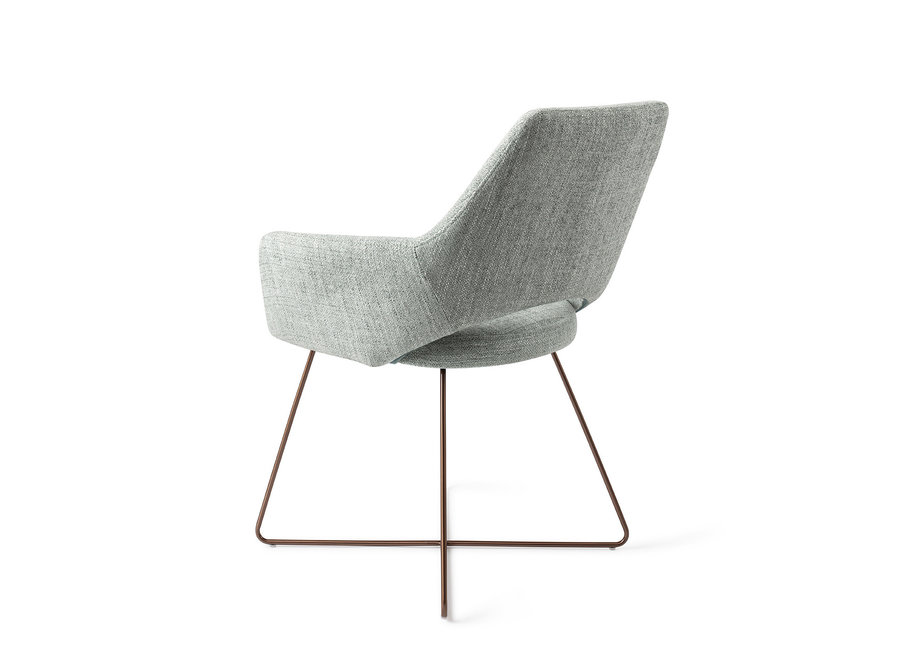 Chaise de salle à manger Yanai - Soft Sage, Cross Rose Gold