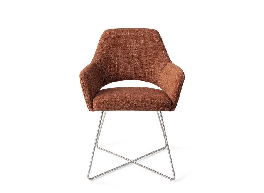Chaise de salle à manger Yanai  - Tuscan Terra, Cross Steel