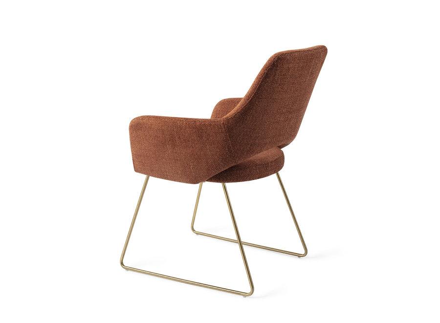 Chaise de salle à manger Yanai  - Tuscan Terra, Slide Gold