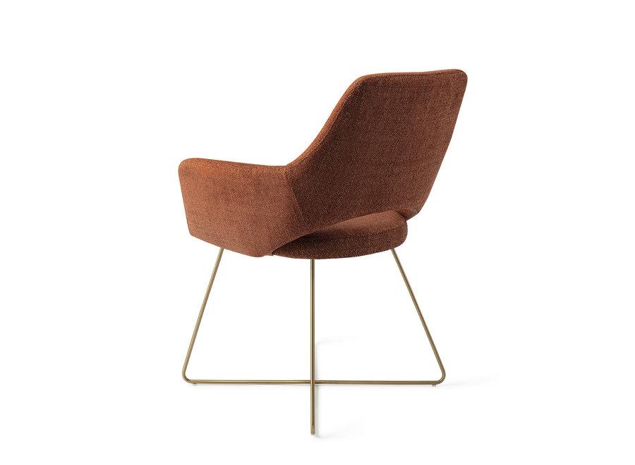 Chaise de salle à manger Yanai - Tuscan Terra, Cross Gold