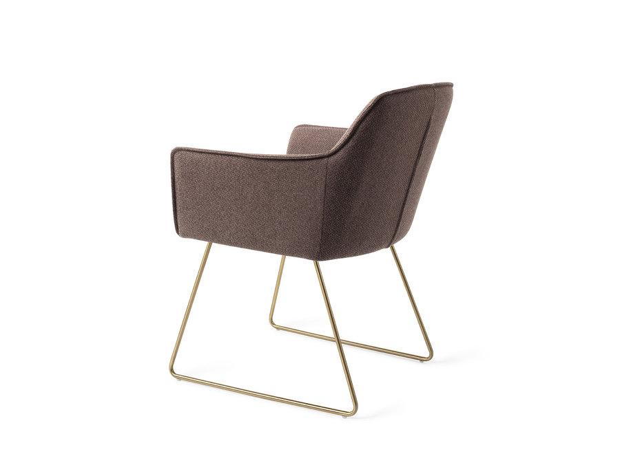 Chaise de salle à manger Hofu  - Potters Clay, Slide Gold