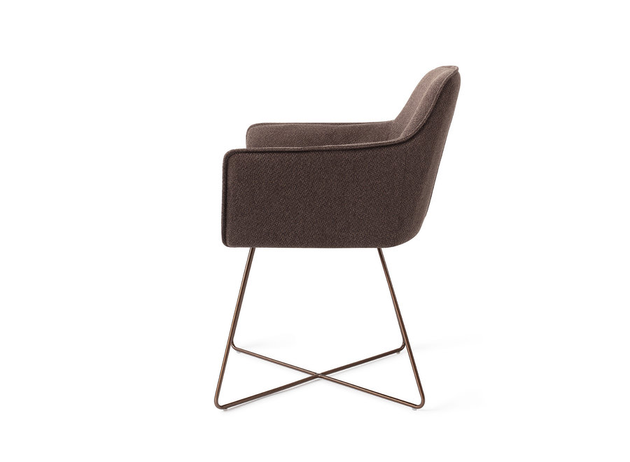 Chaise de salle à manger Hofu - Potters Clay, Cross Rose Gold
