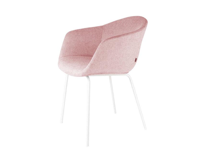Atrani Roze Stof met armleuning | Witte poten