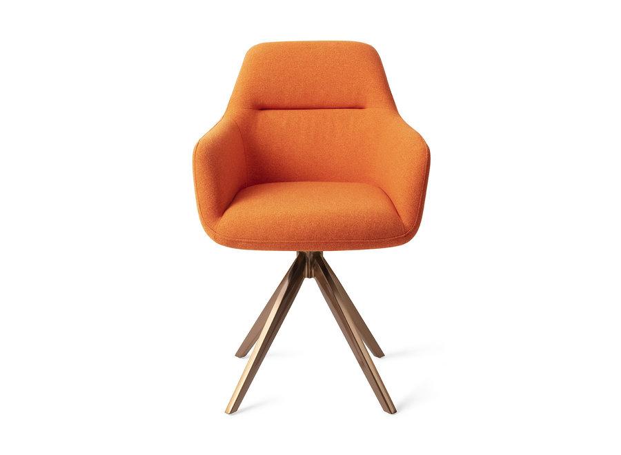 Chaise de salle à manger Kinko - Tangerine, Turn Rose Gold
