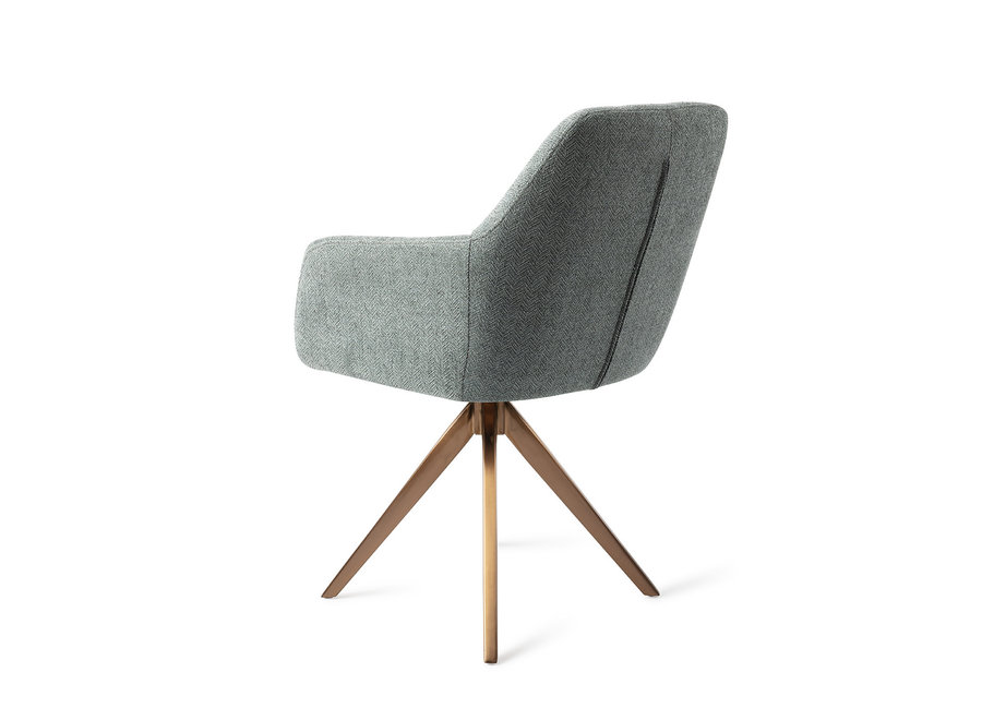 Chaise de salle à manger Noto - Real Teal, Turn Rose Gold