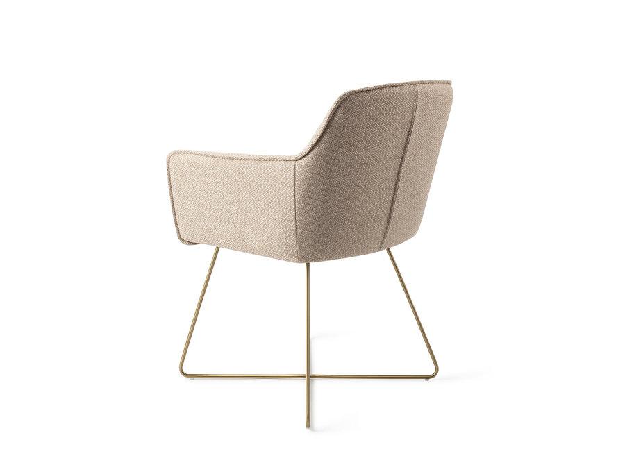 Chaise de salle à manger Hofu - Wild Walnut, Cross Gold