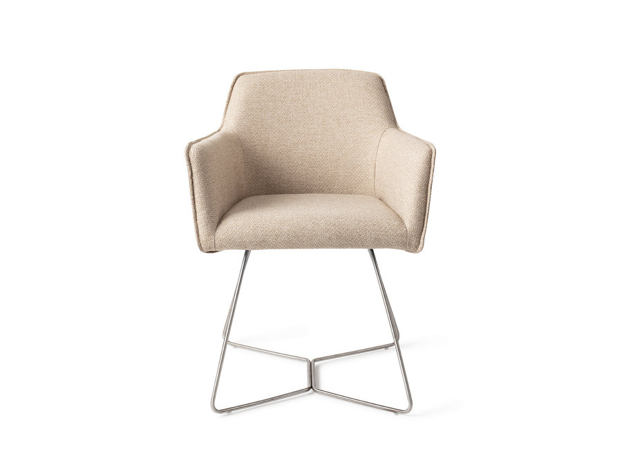 Chaise de salle à manger Hofu  - Wild Walnut, Beehive Steel