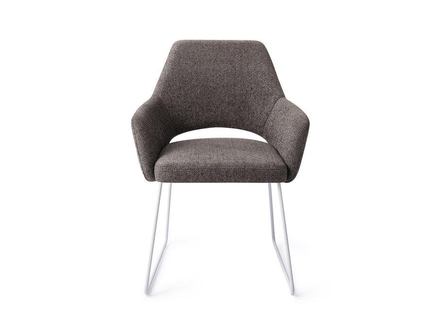 Yanai Eetkamerstoel - Amazing Grey, Slide White