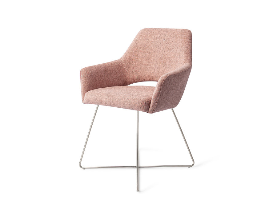 Chaise de salle à manger Yanai  - Pink Punch, Cross Steel