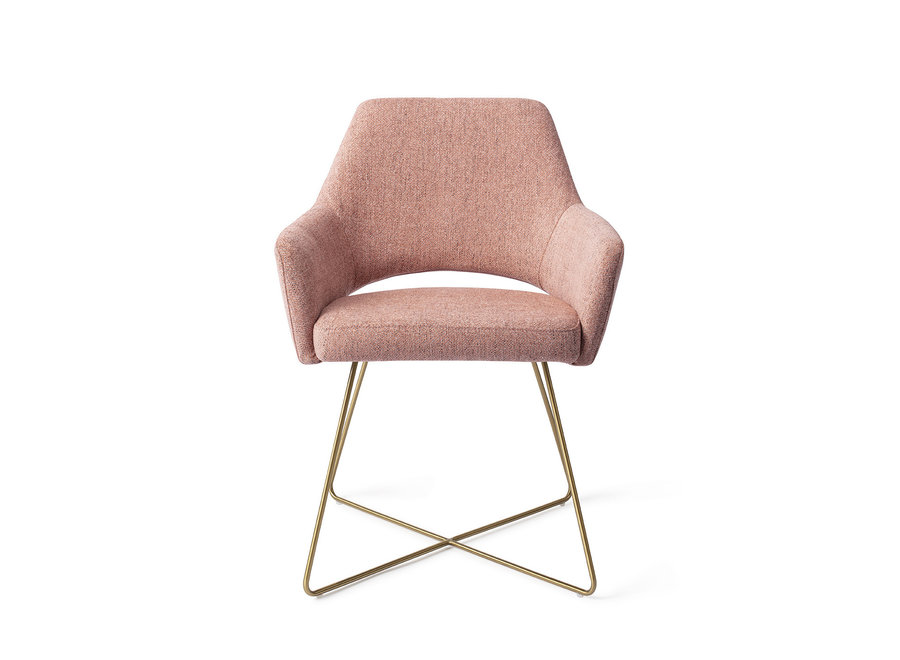 Chaise de salle à manger Yanai - Pink Punch, Cross Gold