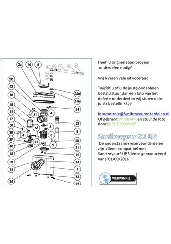 Sanibroyeur  onderdelen tekeningen Sanibroyeur X2 UP