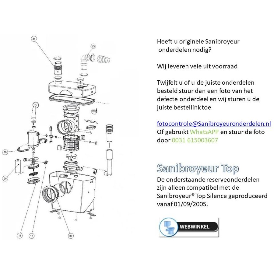 Onderdelen Sanibroyeur Sanitop-1