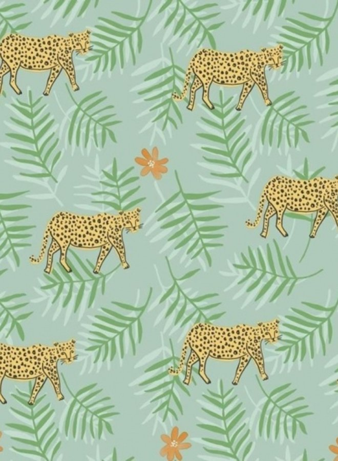 Behang Rice leopard groen