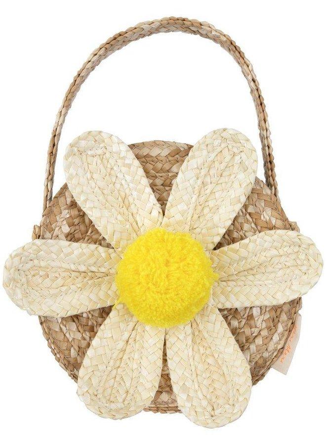 Meri Meri White Daisy Straw Bag