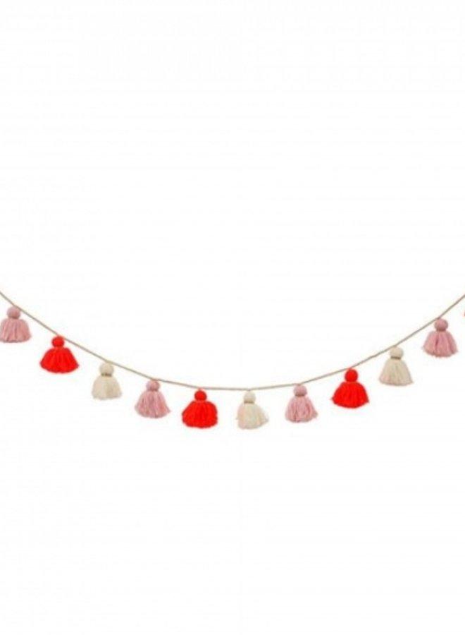 Meri Meri wollen slinger met kwastjes - roze en neon