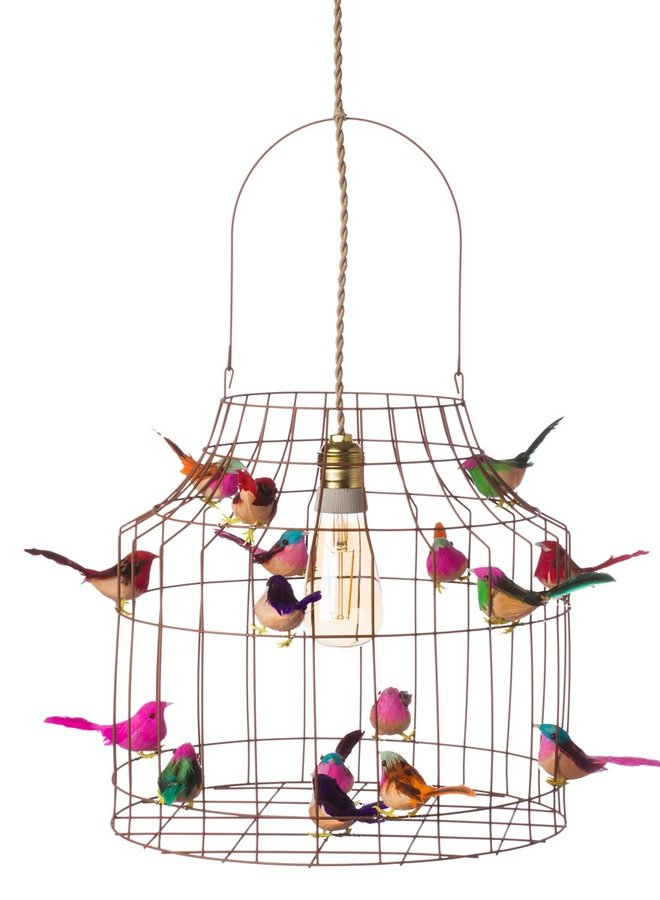 Vogelkooi hanglamp brons multi