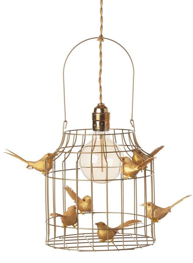 Vogelkooi hanglamp goud